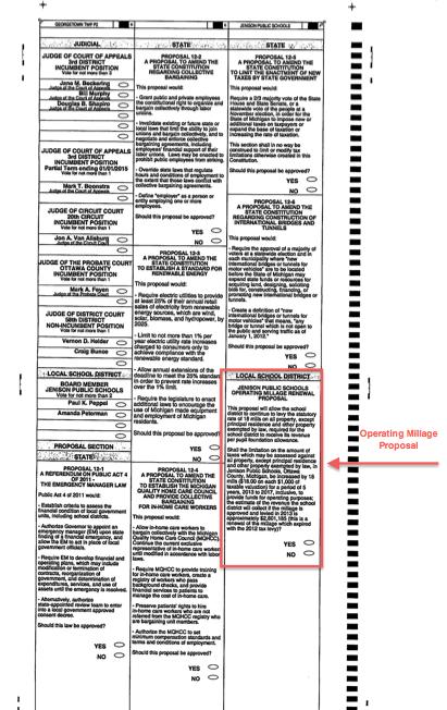 2012 Elections, Jenison Public Schools, Jenison Millage Renewal