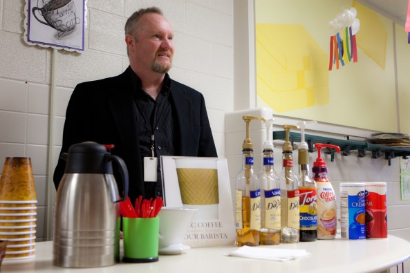 Mr. Westervelt at the coffee kiosk.