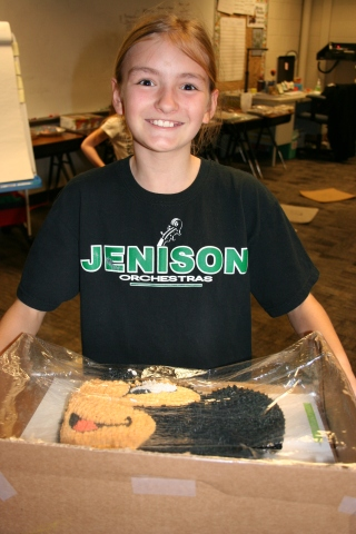 5th Grader, Samantha, wasted no time in choosing this when she won the Cake Walk!