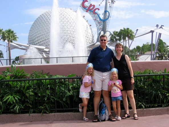 "Dan's family at Epcot in 2006.  We are looking forward to returning to ""the World"" in August."